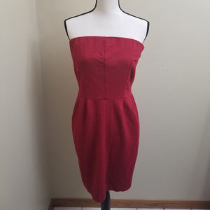 Express Red Pleated Strapless Dress with Pockets L
